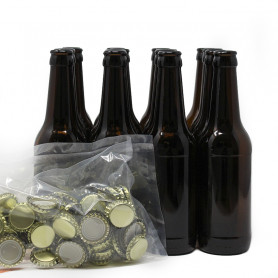 Beer Bottles and Crown Caps